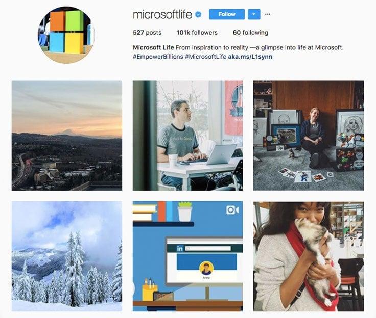 microsoft-employer-branding-instagram-profile